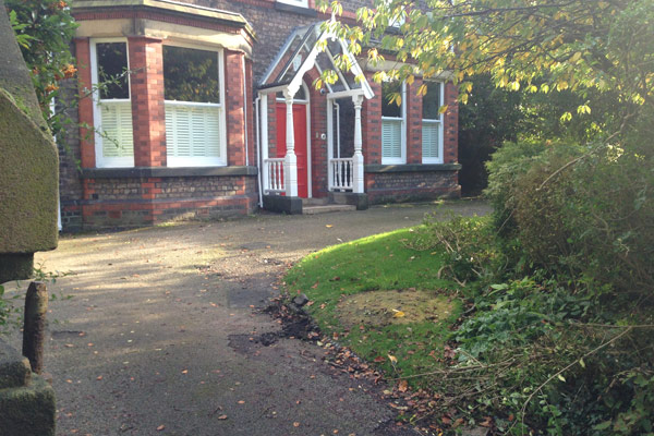 Cressington Park, Liverpool, front garden, landscaping, planning application, driveway, garden design, tarmac surfacing
