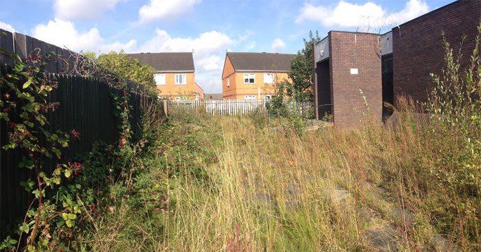 A panorama of the existing outdoor space at Our Lady and St Swithin's, Croxteth, Liverpool