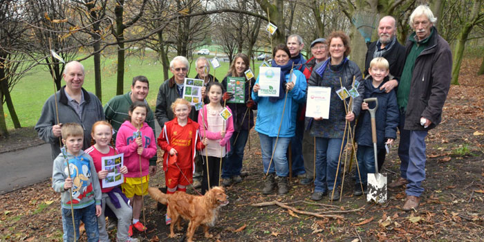 Group photo at the Woodland Wildflower and Spring Bulb planting event, Everton Park, Liverpool